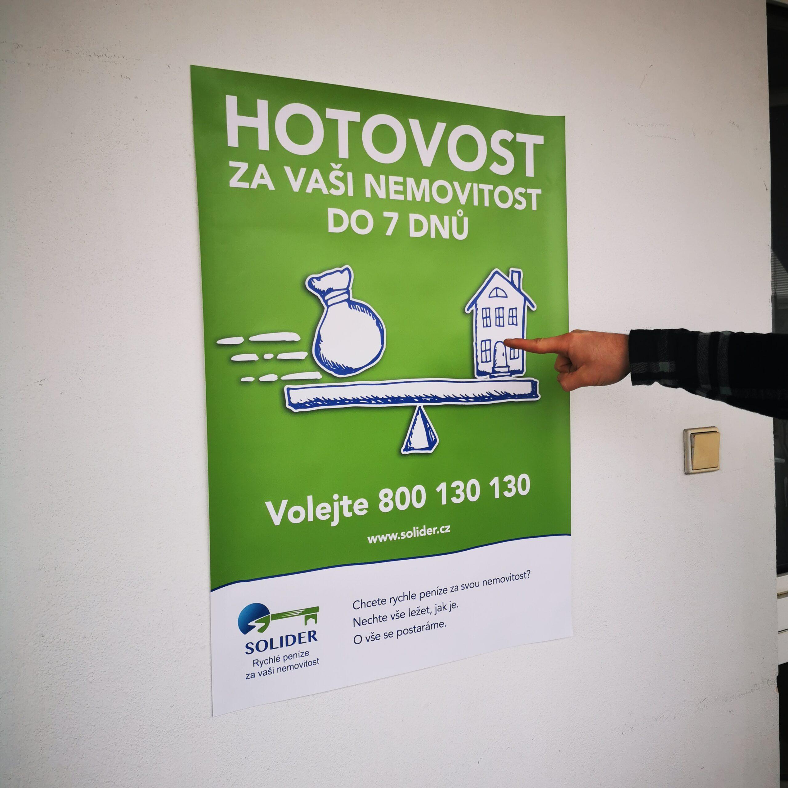 Reklamní plakát nabízející výkup Vaší nemovitosti do 7 dnů.